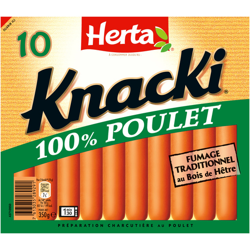 HERTA KNACKI Saucisses 100% Poulet x10 - 350g   Croquons ...